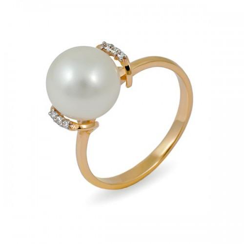 Кольцо из золота 585 пробы с натуральным жемчугом