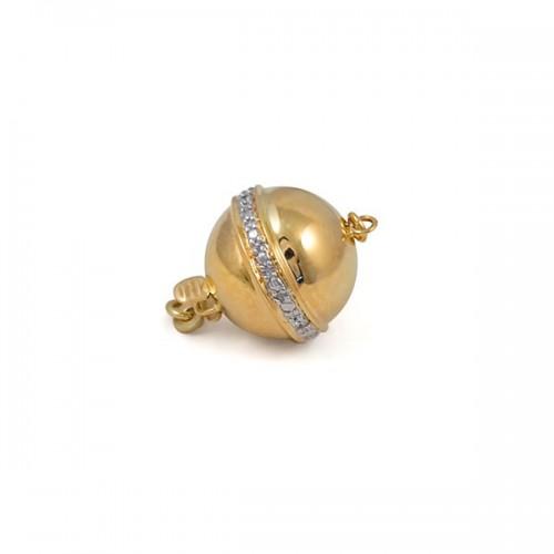 Замок для колье из золота 585 пробы c бриллиантами, 9 мм