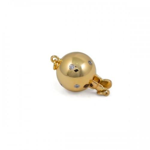 Замок для колье из золота 585 пробы c бриллиантами, 8 мм